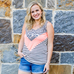 Neon and Leopard Sleeveless Top