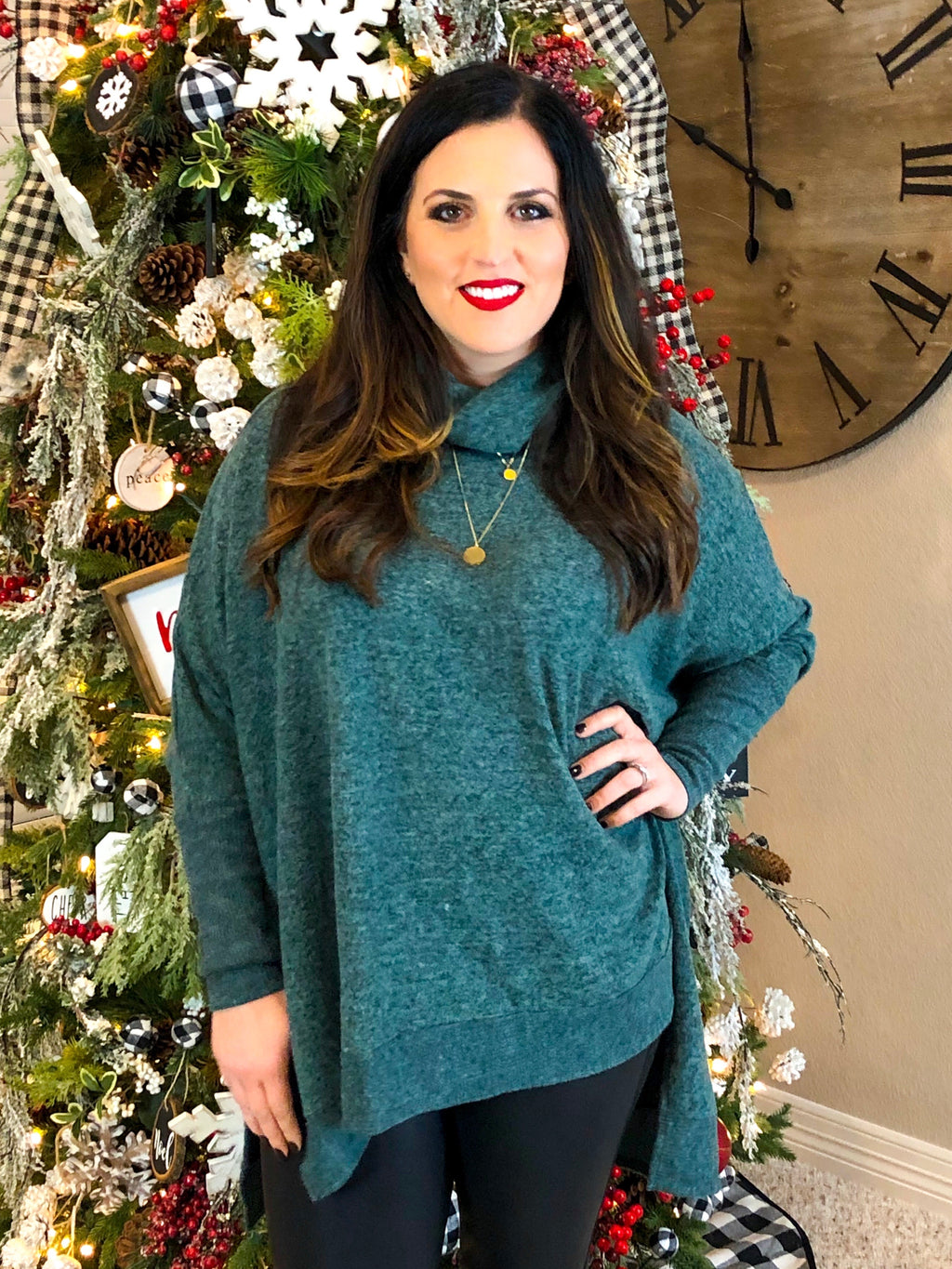 Cowl Neck Poncho Sweater in Green