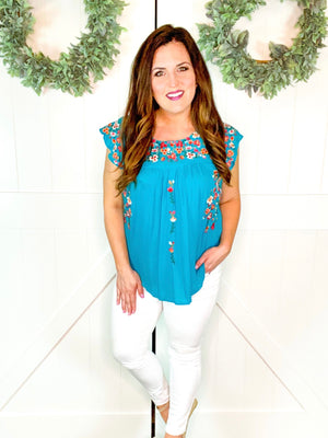 Flutter Sleeve Floral Embroidered Top in Teal