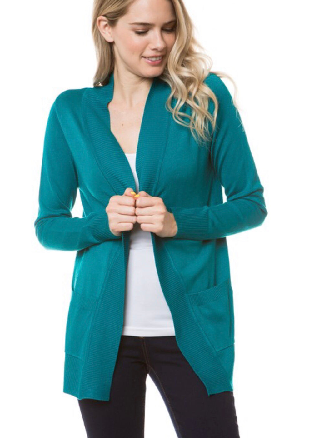 Open Front Cardigan in Teal Green
