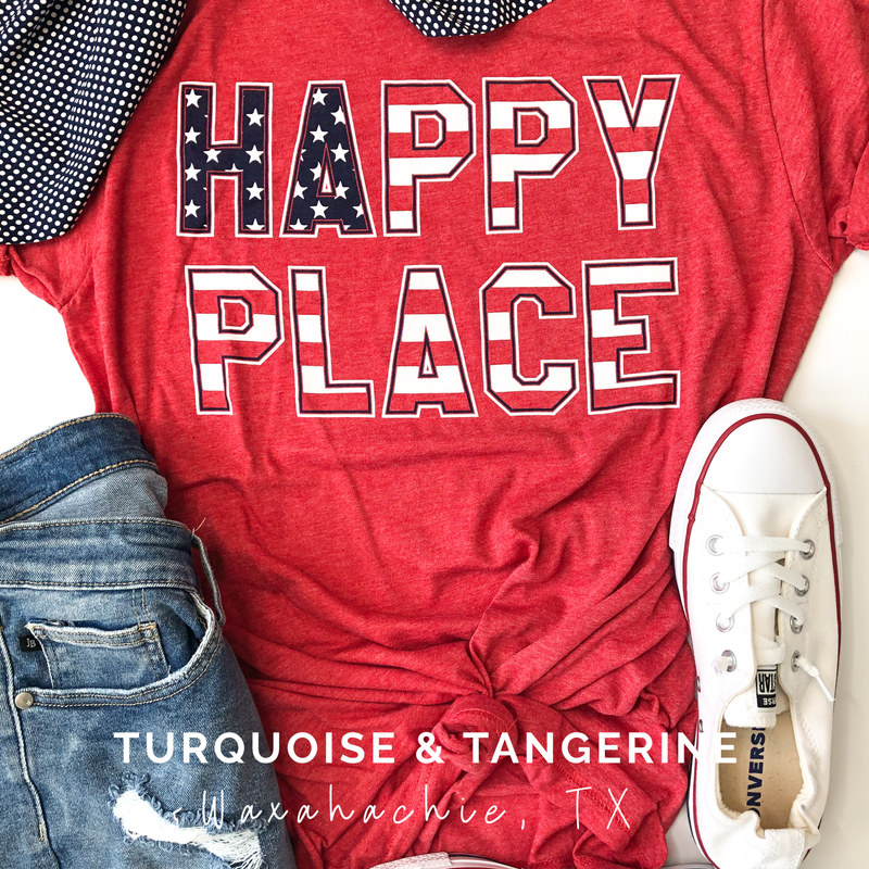 Happy Place American Flag T-Shirt Preorder