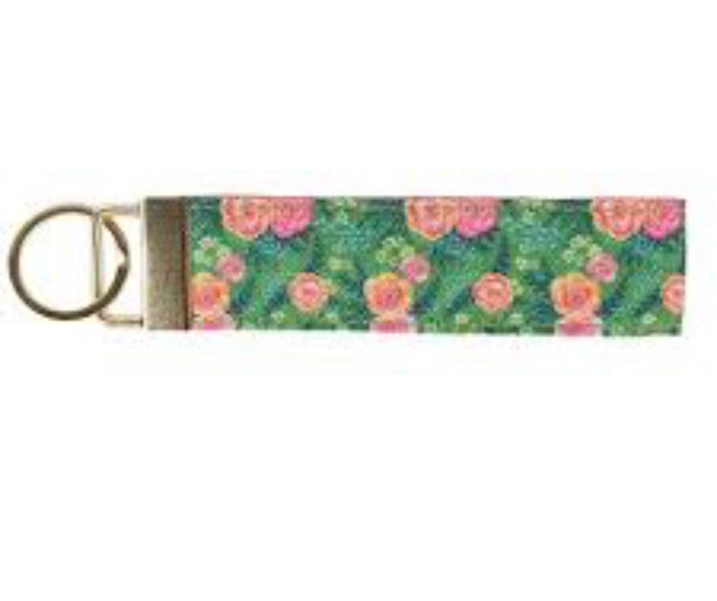 Green and Pink Floral Keyfob