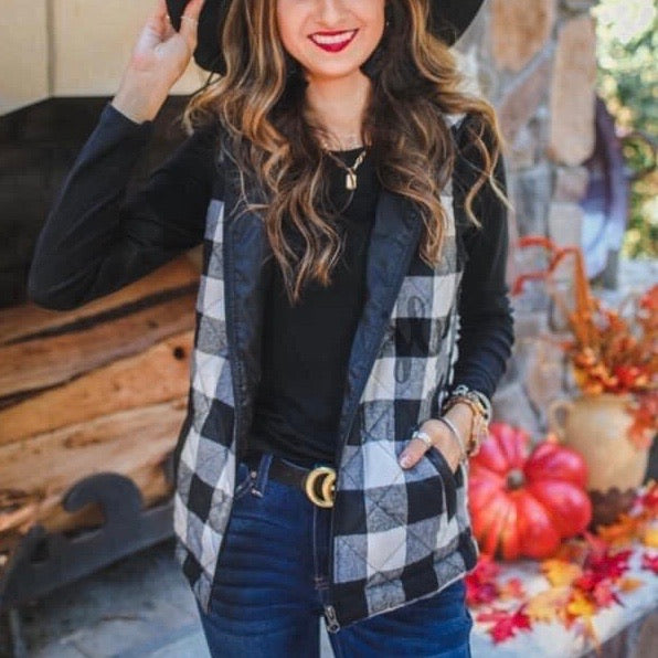 White and Black Buffalo Plaid Vest