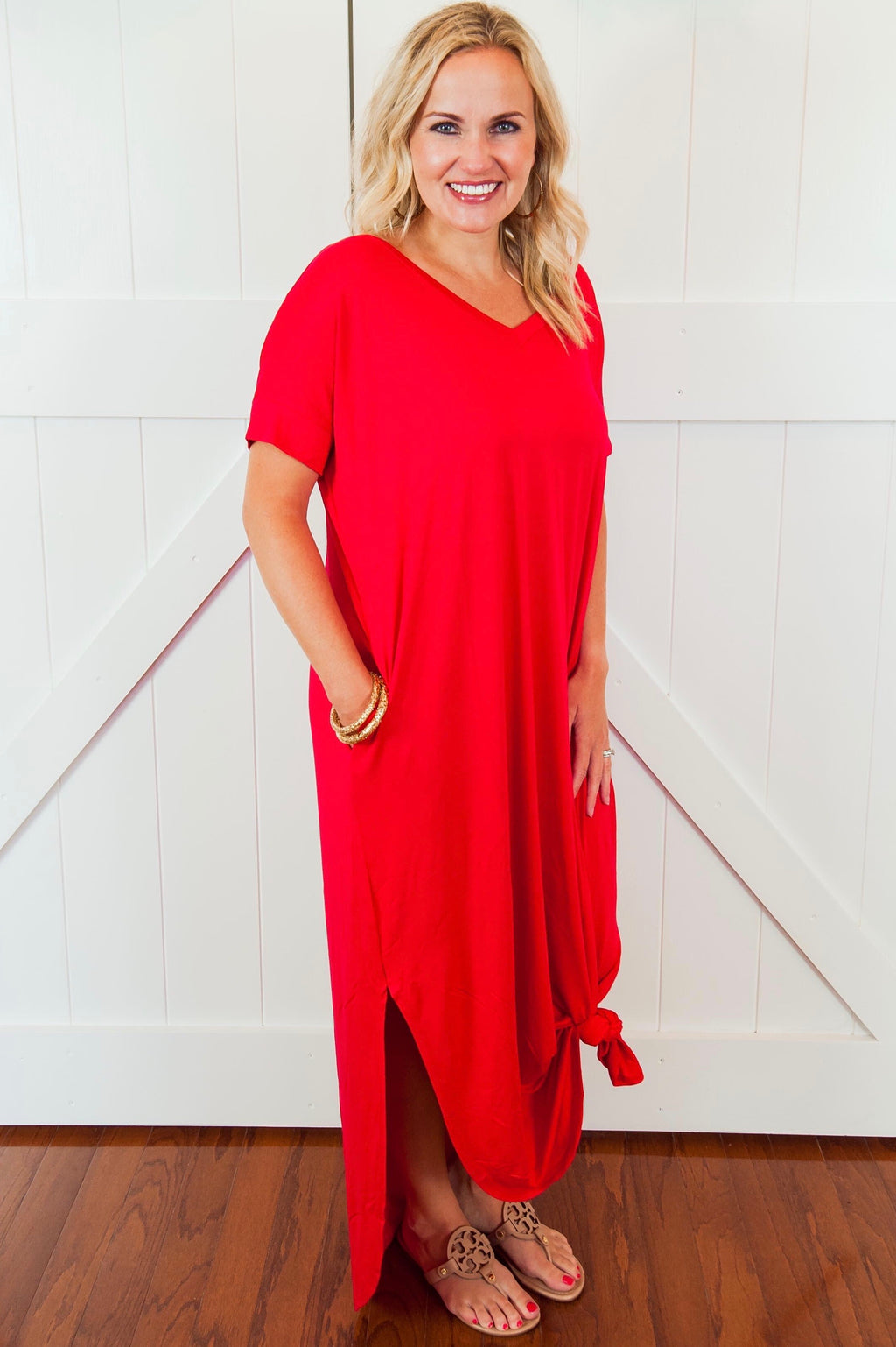 Red Rolled Sleeve Maxi Dress