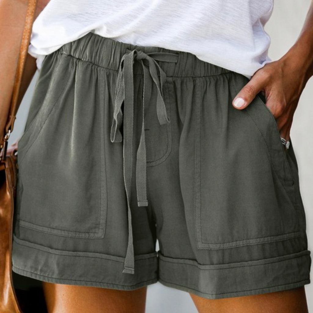 Drawstring Shorts in Olive