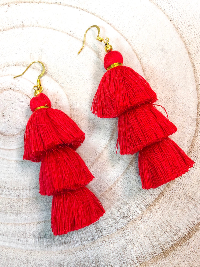 Red Three Tier Tassel Earrings