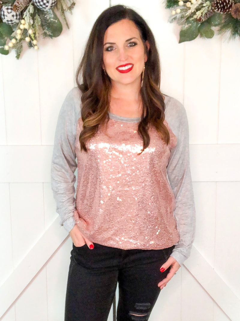 Blush and Gray Sequin Top