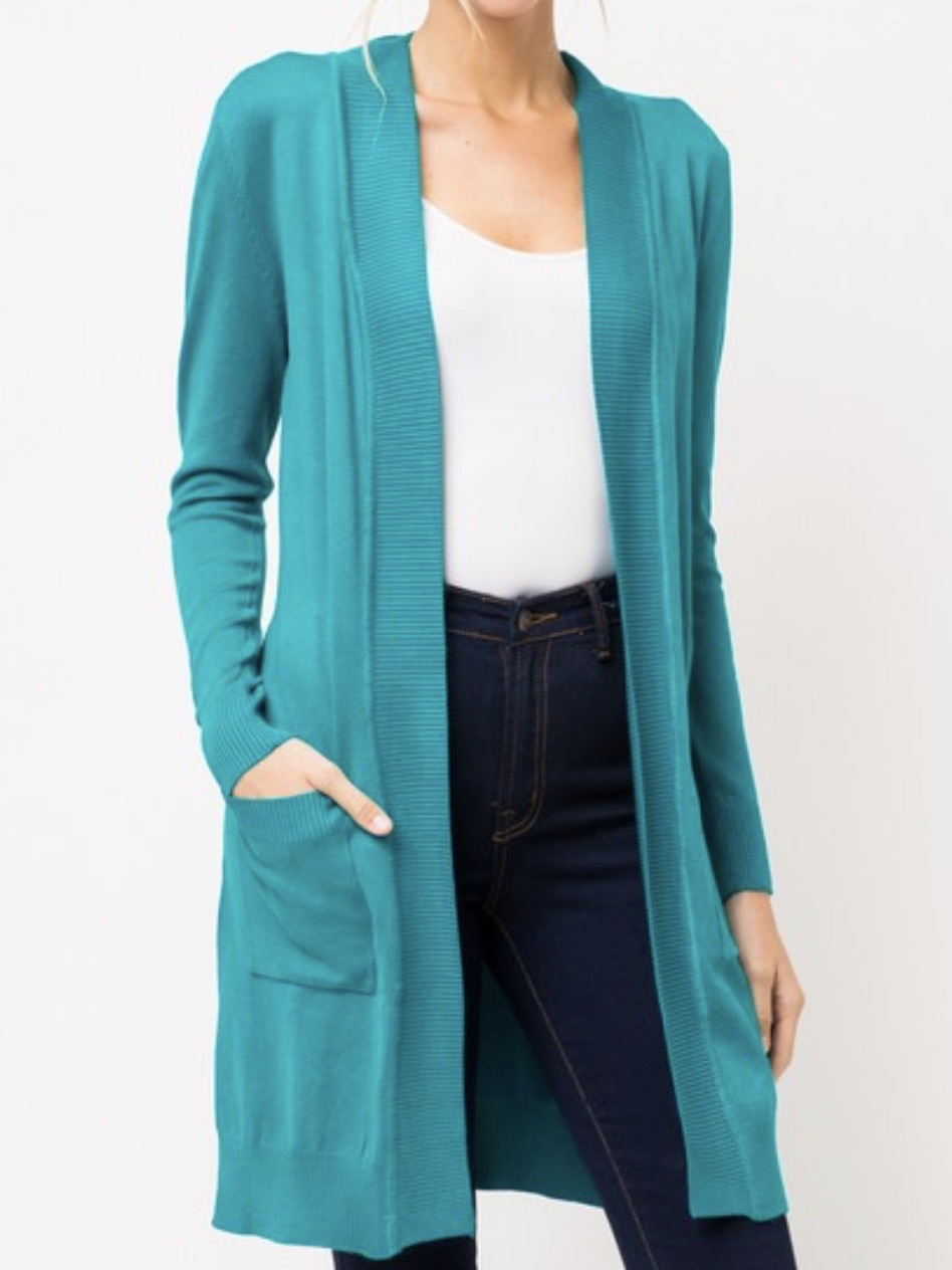 Long Open Front Cardigan in Teal Green