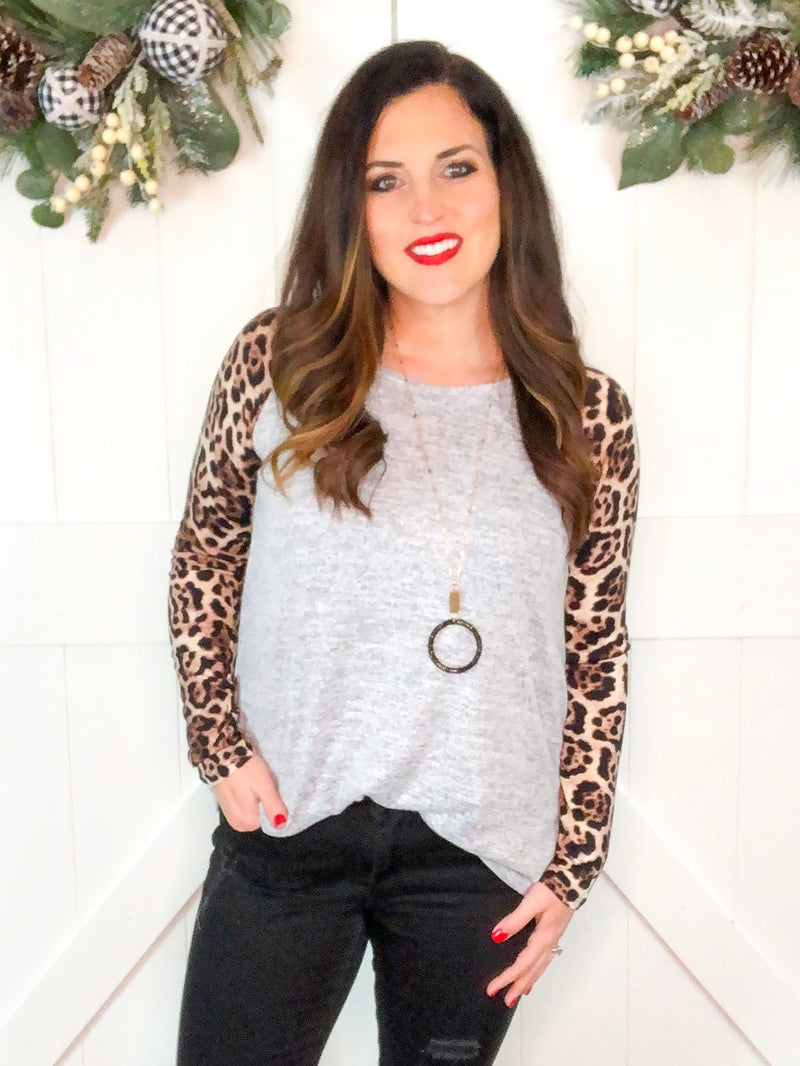 Heather Gray Tunic with Leopard Sleeves