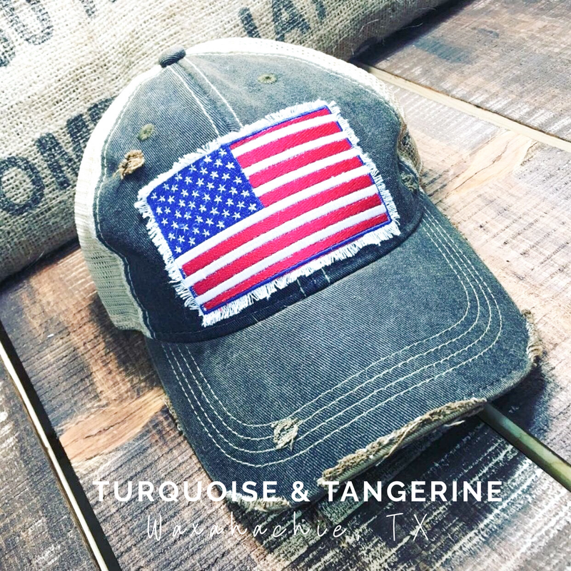 Vintage Distressed American Flag Hat Preorder