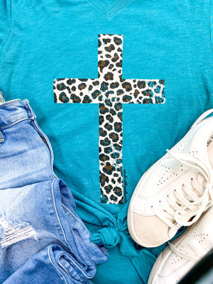 Teal Leopard Cross T-Shirt