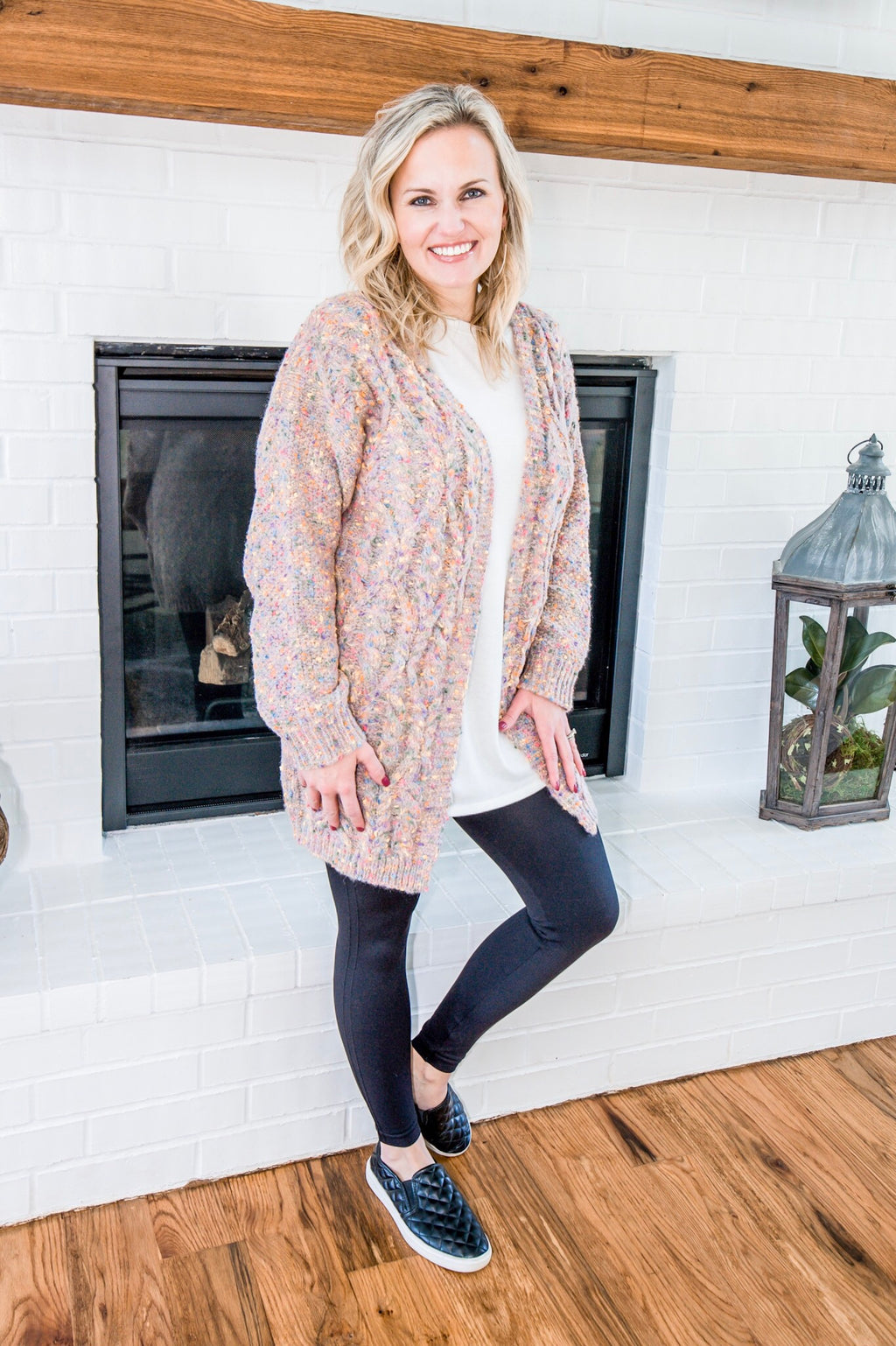 Chenille Confetti Cardigan in Dusty Pink