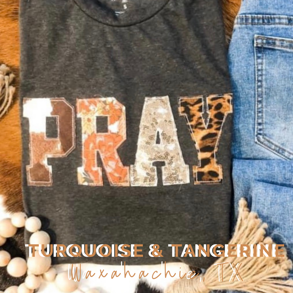 Pray Fabric Applique T-Shirt