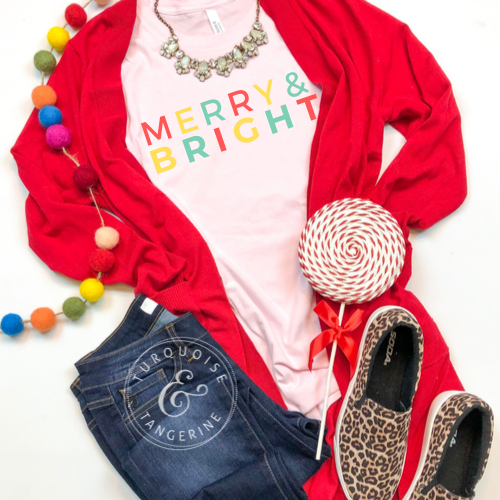 Youth Merry & Bright Pink Christmas T-Shirt