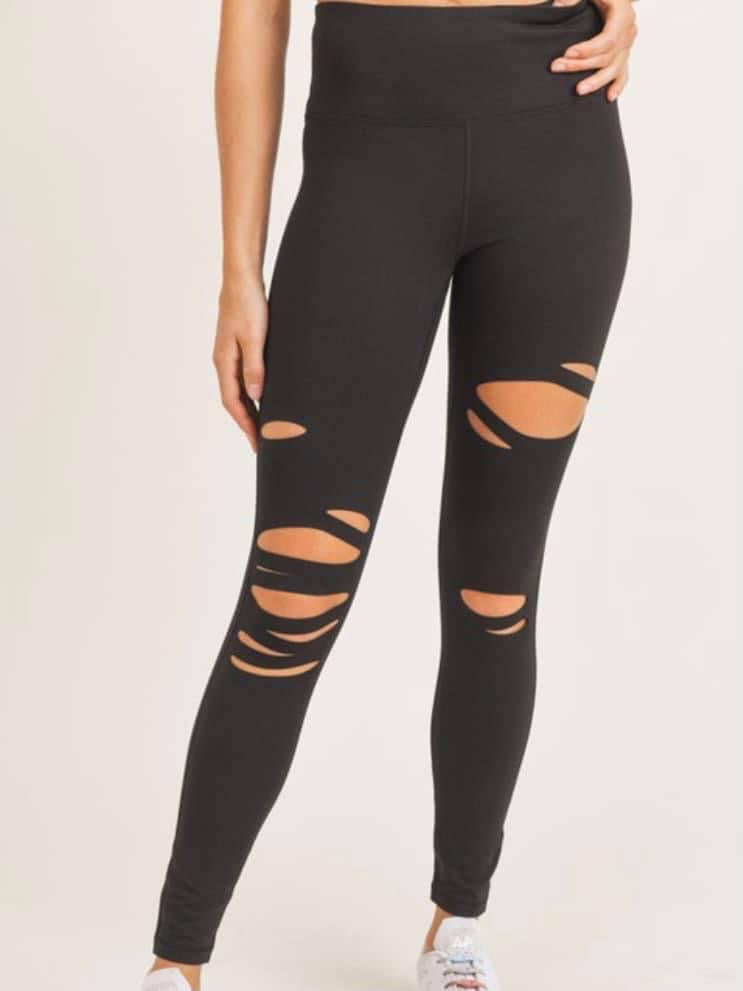 High Waist Laser Cut Black Leggings