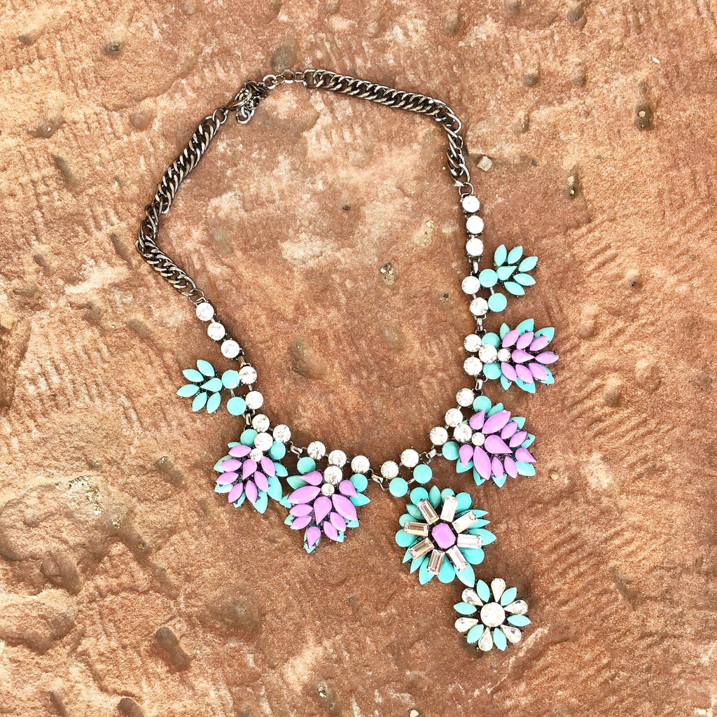 Teal and Purple Bib Statement Necklace