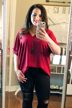 The Perfect V-Neck Top in Ruby