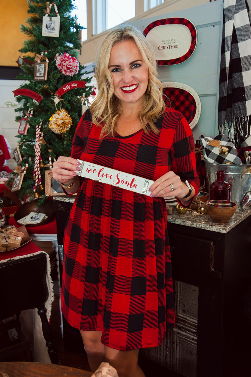 Red and Black Buffalo Plaid Babydoll Dress