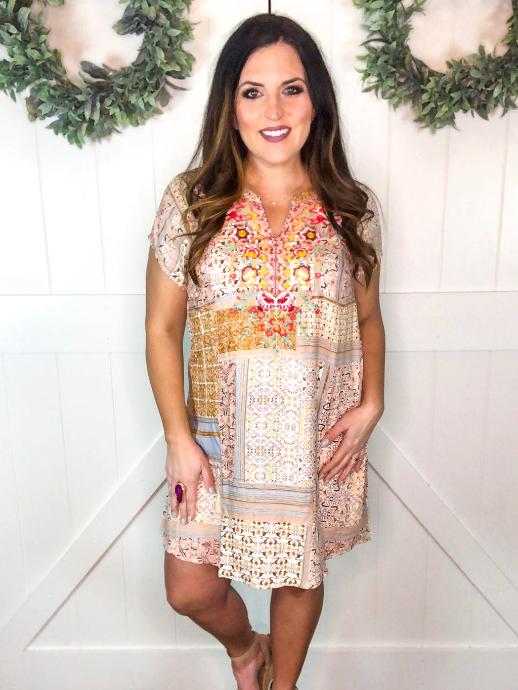 Champagne Rose Boho Print Dress