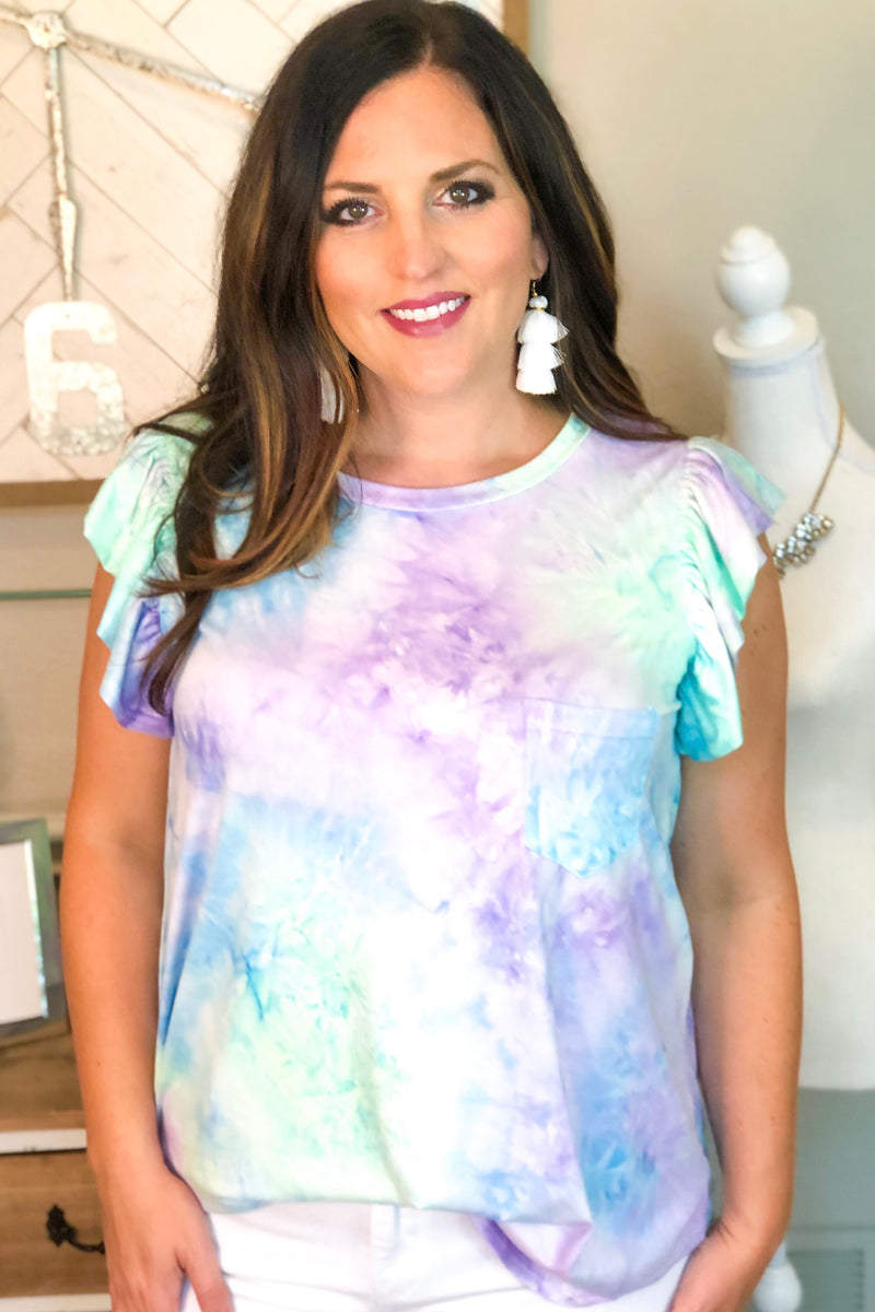 Mint Tie Dye Ruffle Sleeve Top
