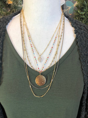 Boho Layered Necklace in Gold