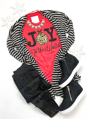 Joy to the World Leopard Christmas T-Shirt Preorder