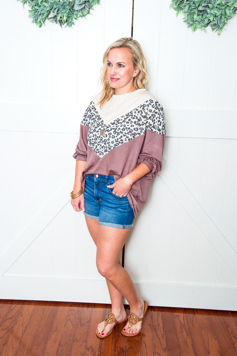 Mocha Leopard Chevron Top