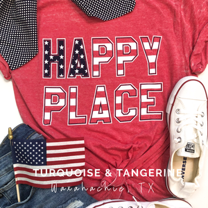 Happy Place Burn Out American Flag T-Shirt