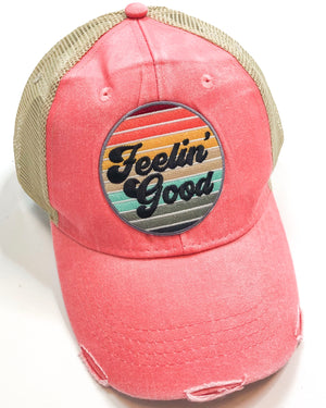 Vintage Distressed Feeling Good Hat in Coral