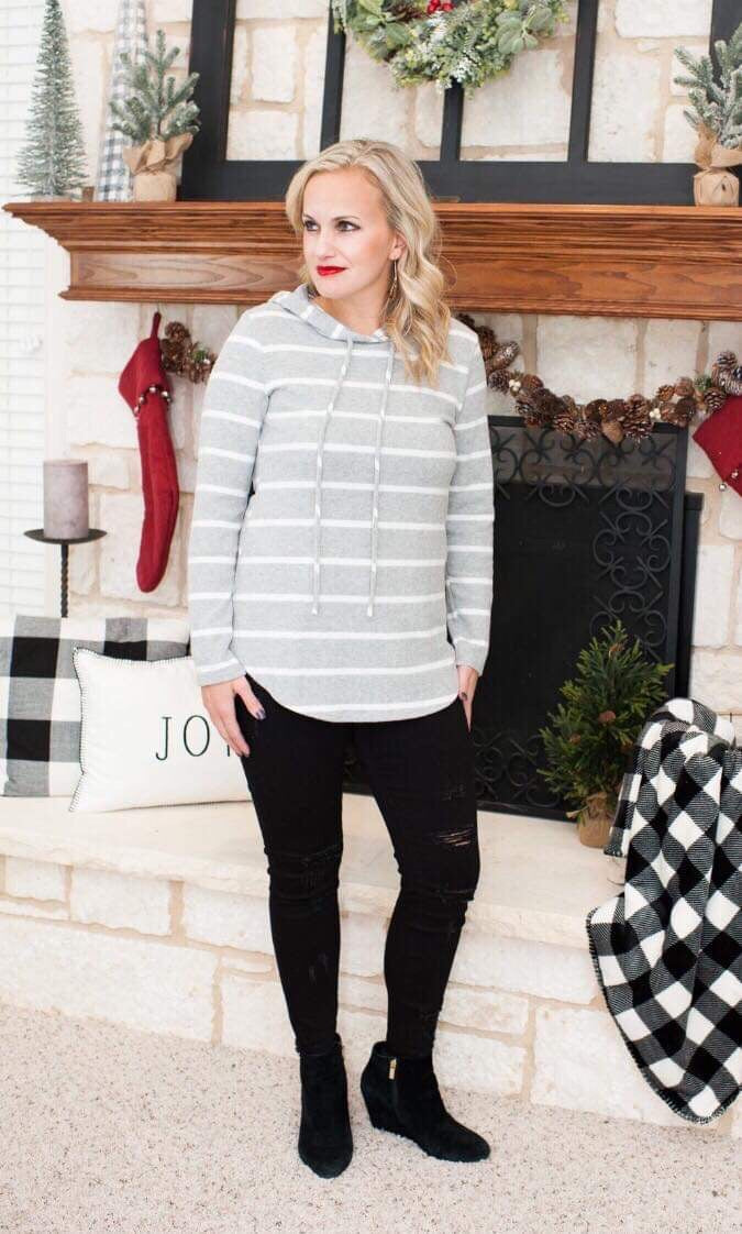 Gray and White Stripe Hooded Pullover