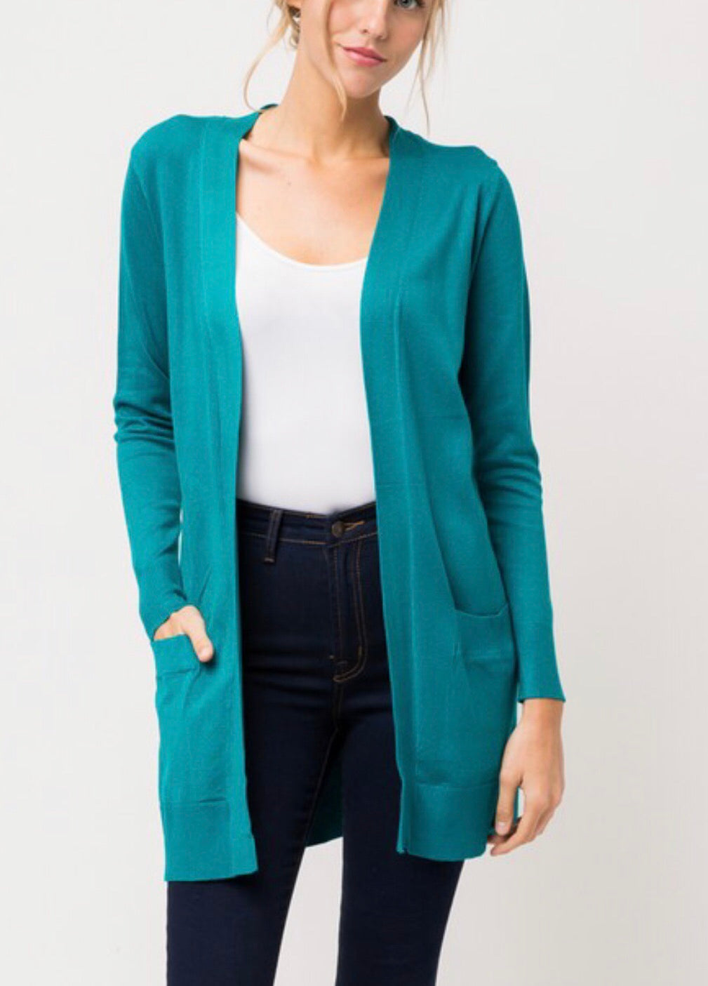 Mid Thigh Length Cardigan in Teal Green