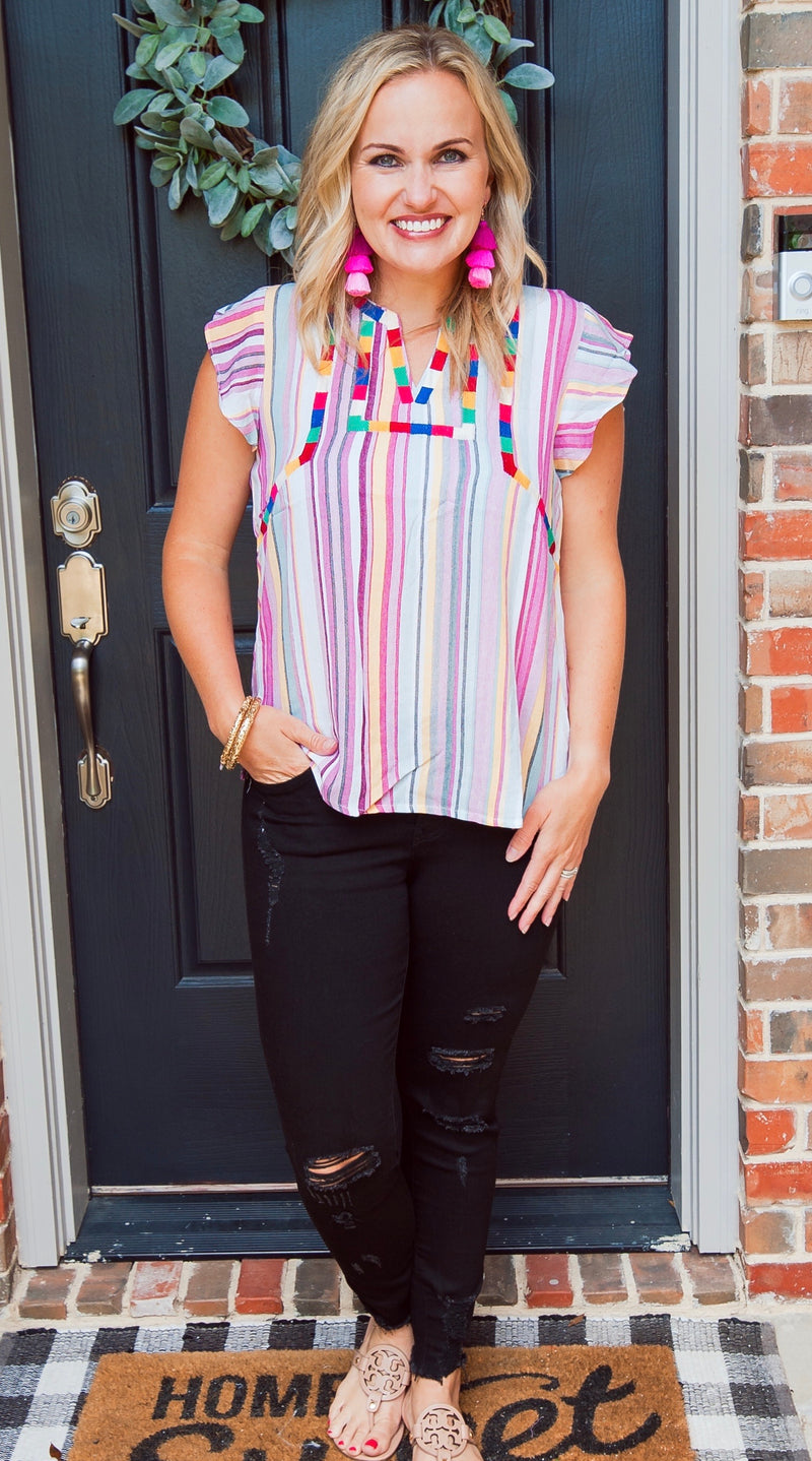 Pink Stripe Embroidered Embroidered Top
