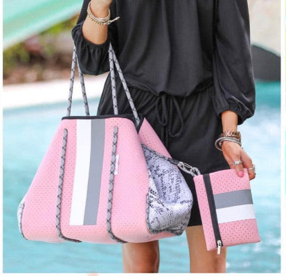 Pink Stripe Neoprene Tote Bag