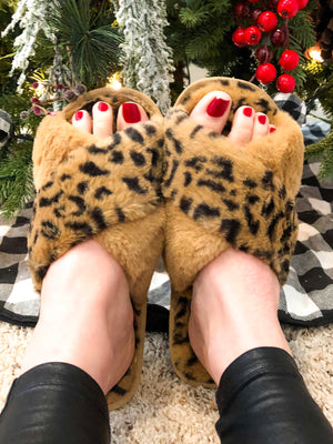 Taupe Leopard  Criss Cross Slippers