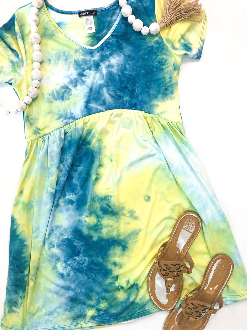 Blue and Green Tie Dye BabyDoll Dress