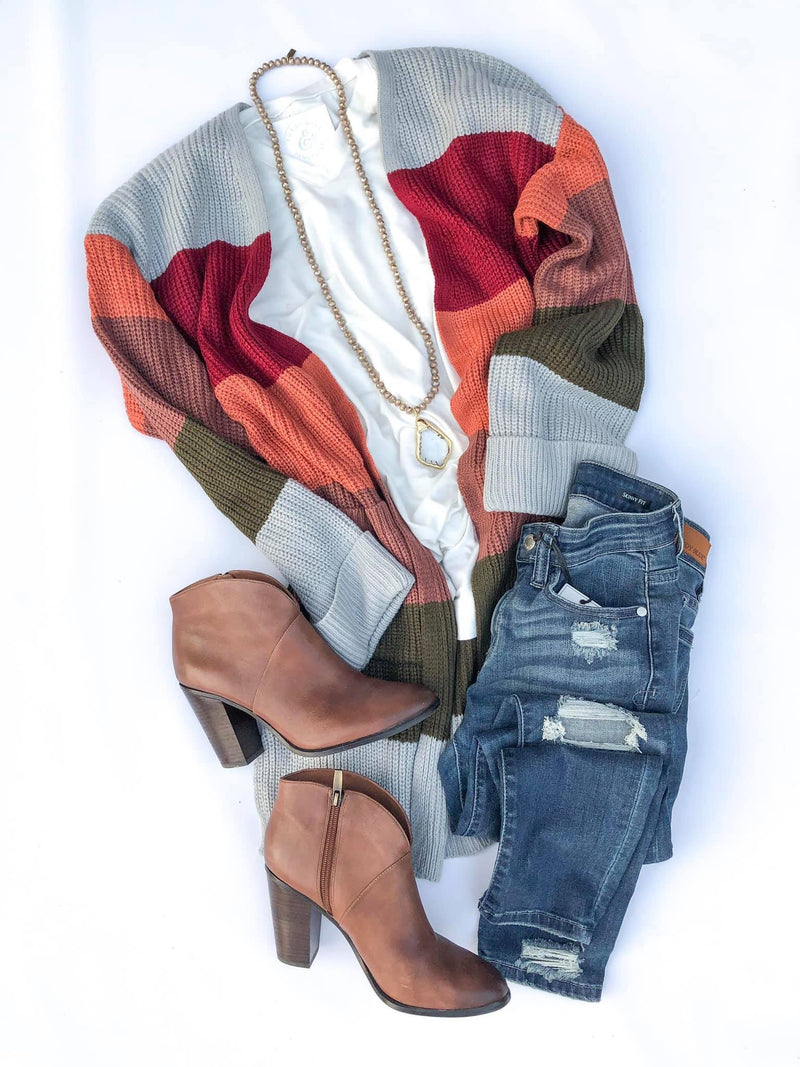 Color Block Sweater Cardigan Preorder