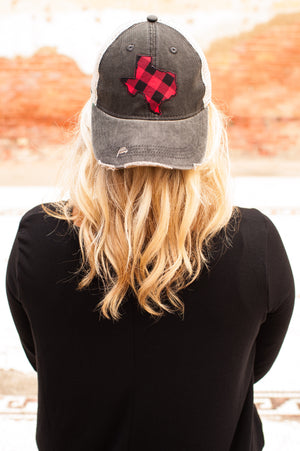 Red and Black Plaid Texas on Black Hat