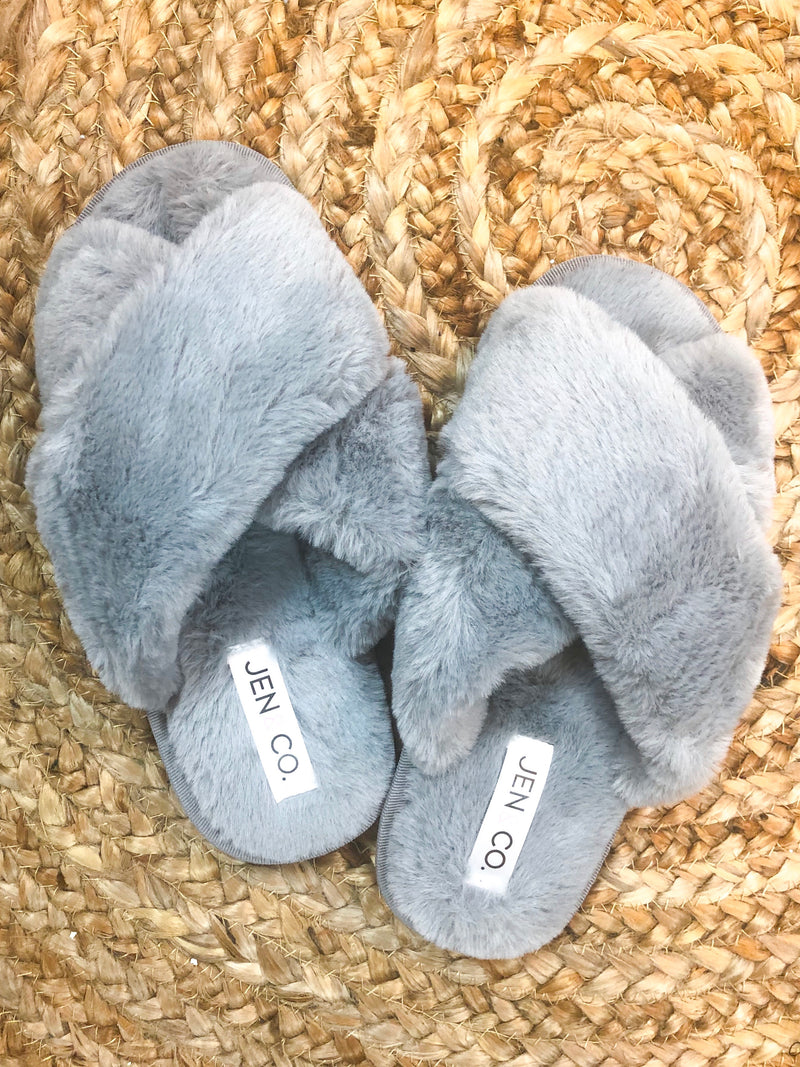 Criss Cross Slippers in Gray