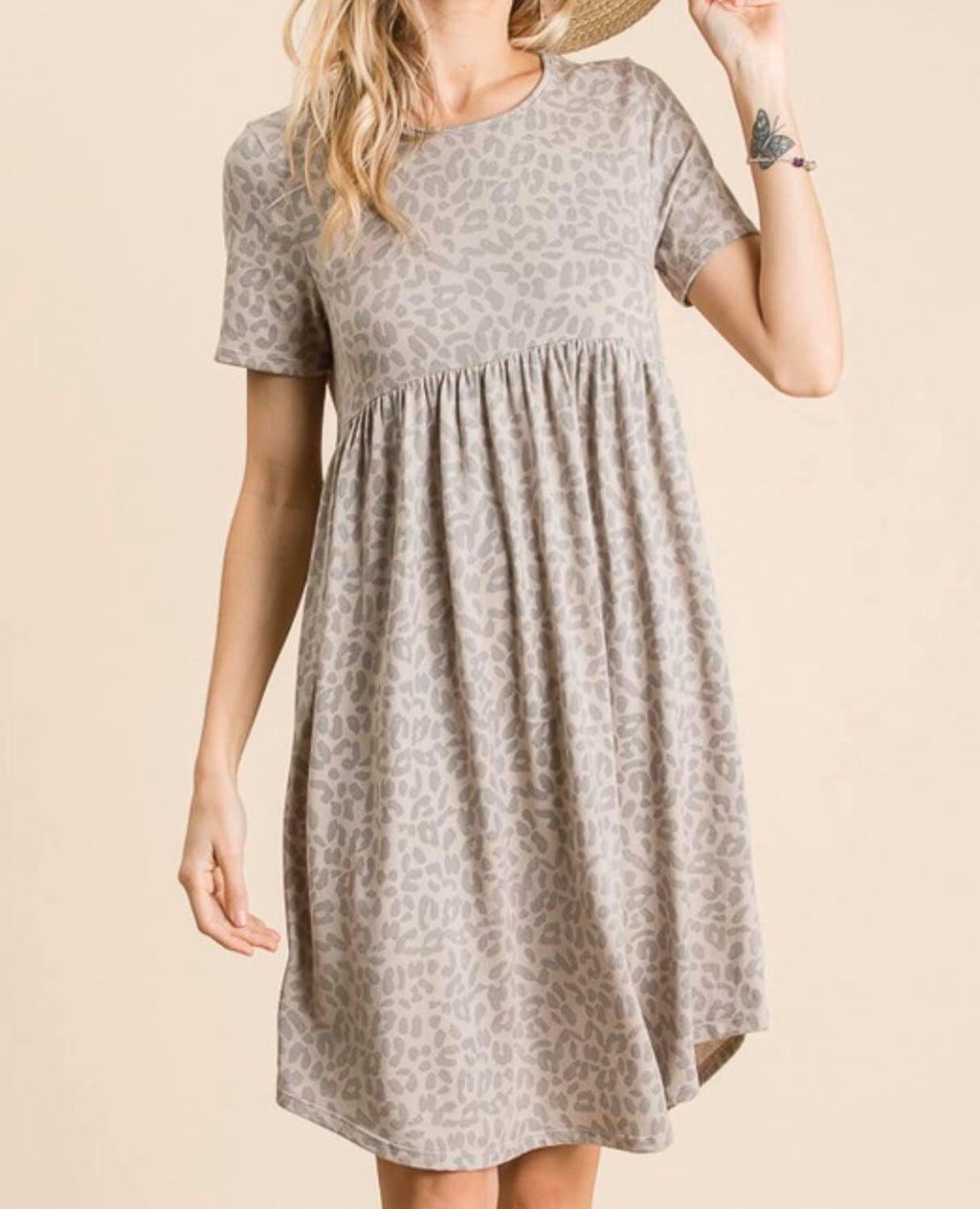 Distressed Leopard Babydoll Dress in Taupe