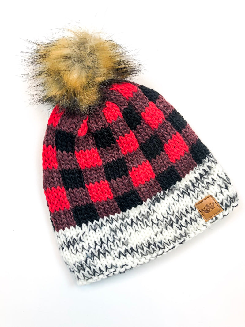 Red and Black Buffalo Plaid Pom Pom Beanie