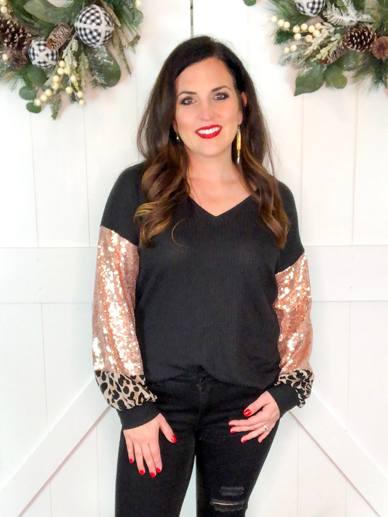 Rose Gold Sequin and Leopard Sleeve Top