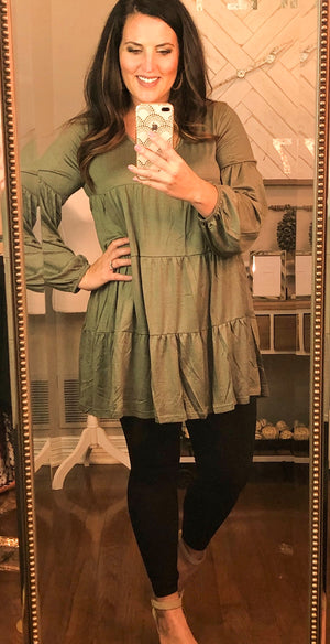 Tiered Ruffle Tunic in Olive