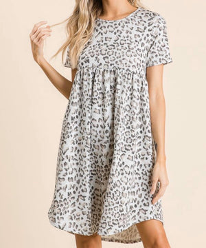Leopard Babydoll Dress in Gray