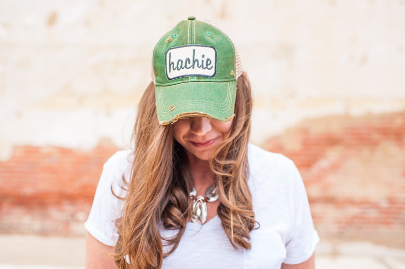"Green Vintage Distressed ""Hachie"" Hat Preorder"