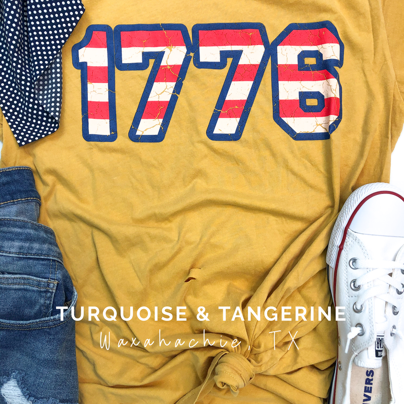 1776 Distressed Mustard T-Shirt