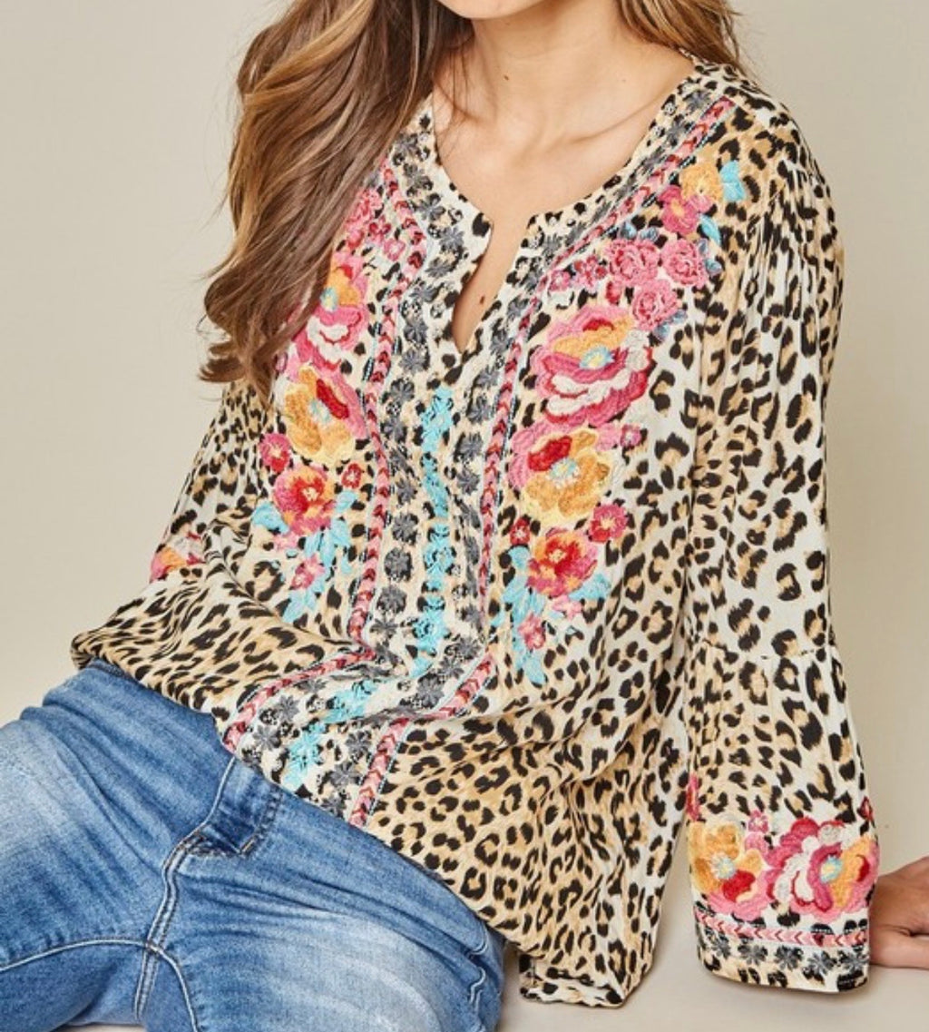 Leopard Floral Embroidered Tunic