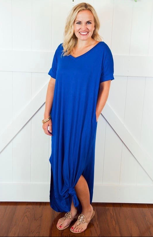 Blue Rolled Sleeve Maxi Dress