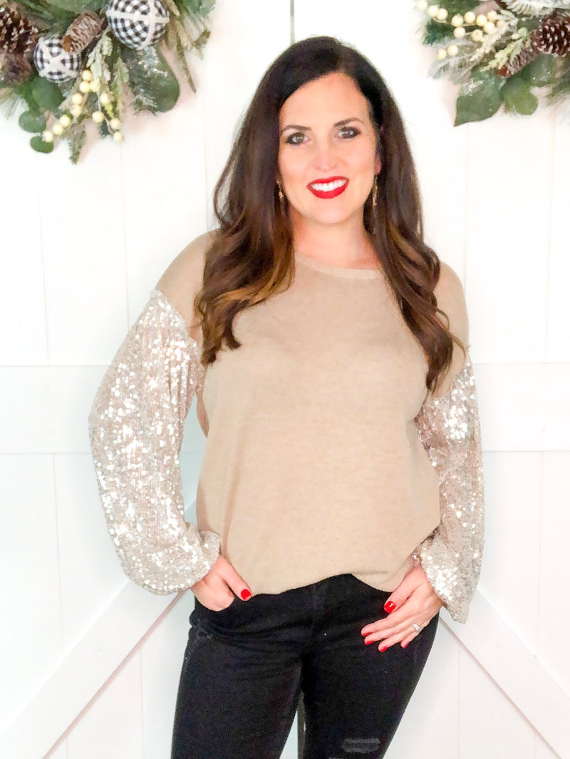 Champagne Sequin Bubble Sleeve Top