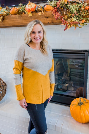 Mustard and Taupe Lightweight Sweater