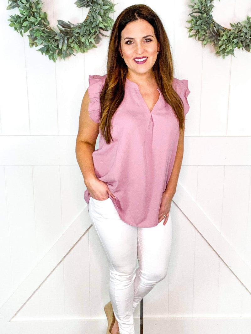 Ruffle Sleeve Top in Blush